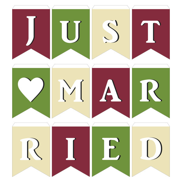 ガーランド無料テンプレート:Three-color_Just married|結婚式ムービーchouchou(シュシュ)
