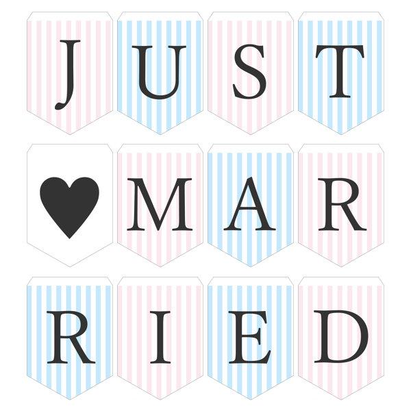 ガーランド無料テンプレート:Stripe_pink×blue_Just married|結婚式ムービーchouchou(シュシュ)