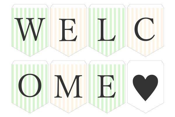 ガーランド無料テンプレート:Stripe_green×yellow_Welcome|結婚式ムービーchouchou(シュシュ)